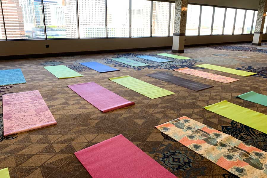 Corporate Yoga Class Mat Setup