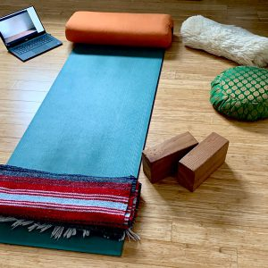 Peaceful Home Yoga Studio for Virtual Yoga Classes.